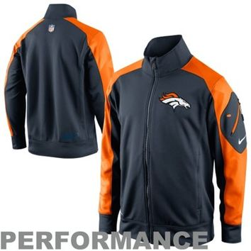 Nike Denver Broncos Fly Speed Full Zip Performance Jacket - Navy Blue/Orange