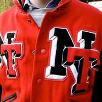ROCKIN 50s 60s Red and Black Letterman Jacket with Leather Sleeves // Letters N T // Jackpot Jen