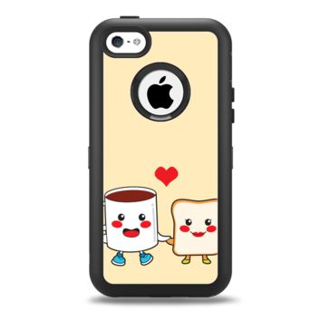 The Cute Toast & Mug Breakfast Couple Apple iPhone 5c Otterbox Defender Case Skin Set