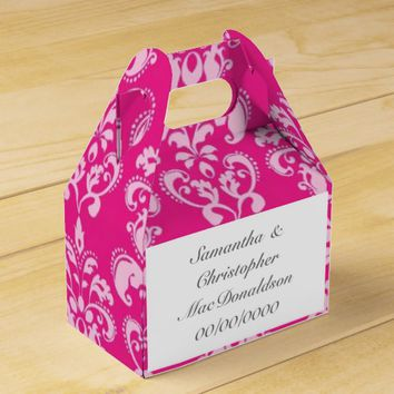 Bright pink damask wedding favor box