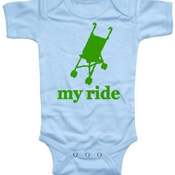 My Ride Stroller Short Sleeve funny Onesuit Baby Boy by happyfamily