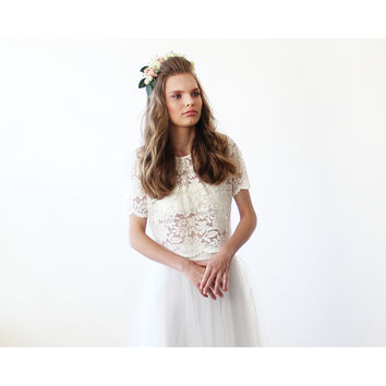 Lace Ivory short bridal sleeves top