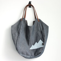 Blue denim shopping tote bag, Large market bag with mountain detail