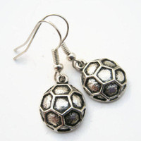 Soccer Earrings, Personalized Soccer Earrings, Sports Hobby Jewelry, Soccer Mom, Soccer Ball Jewelry,  READY To SHIP, Antiqued Silver