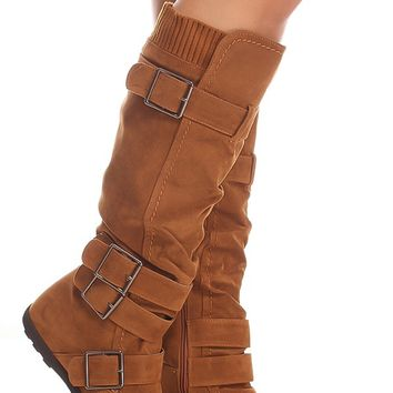 TAN SUEDE MATERIAL BUCKLE STRAPS SIDE ZIPPER CASUAL KNEE HIGH BOOTS