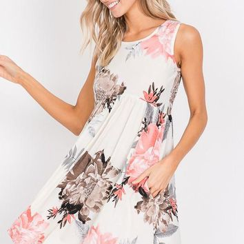 2019 SUMMER WOMEN'S SLEEVELESS FLORAL BABYDOLL DRESS