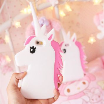Hot New Fantastic Cartoon Case Unicorn Horse Soft Silicone Phone Cases Cover For iPhone 7 7Plus 5 5S SE 5C 6 6G 6S 6Plus Cover