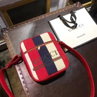 GUCCI Latest Striped Series Large Men And Women Shoulder Bag Messenger Bag