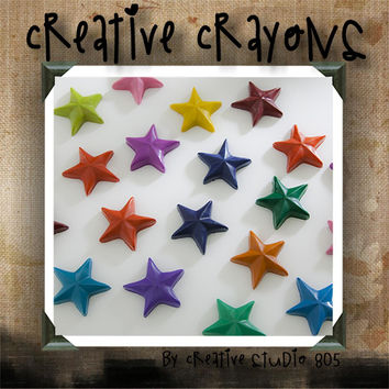 NAUTICAL STARS - shaped crayons - birthday party favors - baby shower favors - christmas stocking stuffers