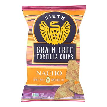 Siete Tortilla Chip - Nacho - Case Of 12 - 5 Oz
