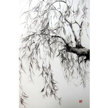 Japanese Ink Painting Japanese art Asian art Sumi-e Suibokuga  Rice Paper Black Large 18x29' Willow