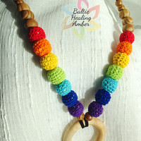 All Natural Mommy Nursing Rainbow Color Necklace with Wooden Ring Pendant with Adjustable Leather Suede Cord, Crocheted Wooden Balls.