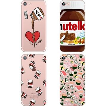 ciciber Phone Case Cute Tumblr Nutella Design Sushi Clear Soft Silicon TPU Case Cover for Apple IPhone 6 6S 7 8 Plus 5S SE X