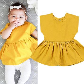 Toddle Baby Summer Clothes Girls Yellow Sleeveless Princess Dress one-piece Party Dress Infantis Menina baby Dresses