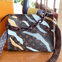 LV Louis vuitton Fashion New Monogram Camouflage Leather Shopping Leisure Shoulder Bag Crossbody Bag Cosmetic Bag Handbag Coffee
