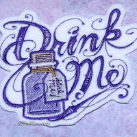 Drink Me Alice in Wonderland Purple Bottle Iron On Embroidery Patch MTCoffinz