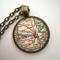 Vintage Richmond Virginia Glass Map Pendant by sterlingquest