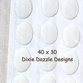 20 Oval cabochons, 30x40mm clear epoxy stickers, image seal, cameo seal, clear cover, clear seal. large oval,  scrapbook supplies