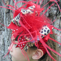 Over The Top Bow Leopard Red and Brown Ribbon OTT Headband