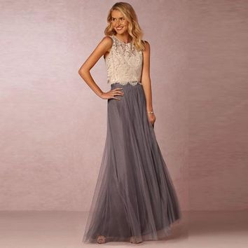 Long Tulle Women Skirts A Line Floor Length Two Layers Tulle One Layers Chiffon One Lining Maxi Skirts For Bridesmaids