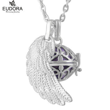 Silver Plated Mexican Bola Cage Pendant Angel Caller Sounds 16mm Eudora Harmony Ball with Chain Necklace Jewelry Christmas Gift