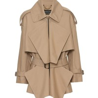 Cotton gabardine short panelled trench coat