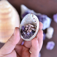 Cute Natural Abalone Sea Shell Series Pendant, Cute Mushrooms Family, Amethyst Crystals, Painted Clay, Unique Pendant