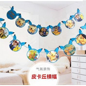 15flags one banner  Go theme party bunting Pennant for kids party favors happy birthday party decorationsKawaii Pokemon go  AT_89_9