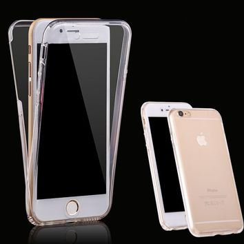 For iPhone 6 6S 6 plus 6S plus Shockproof Hybrid Back+ Front Rubber TPU Soft Touch Case full body 360 protective Clear Cover cas