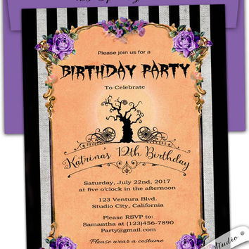 Halloween Nightmare before Christmas inspired spooky Birthday Bridal Baby shower party invitation personalized diy printable or printed