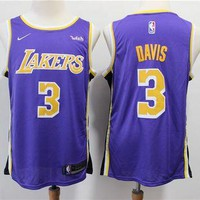 L.A. Lakers 3 Anthony Davis Purple/Black Basketball Jersey