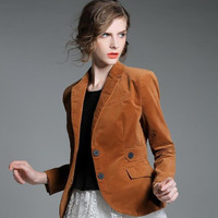 women Brand fashion single-breasted jacket coat corduroy suits blazer plus size