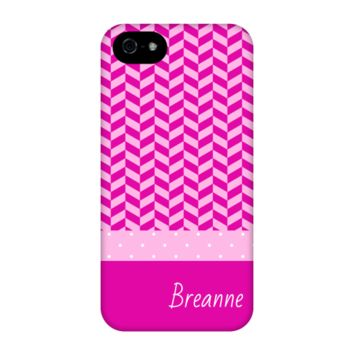 Pink Herringbone Personalized Phone Case