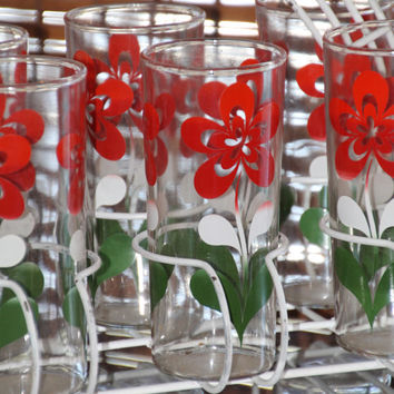 Vintage 1960s Tall Tumbler Glasses with White Red and Green Floral Design and White Caddy