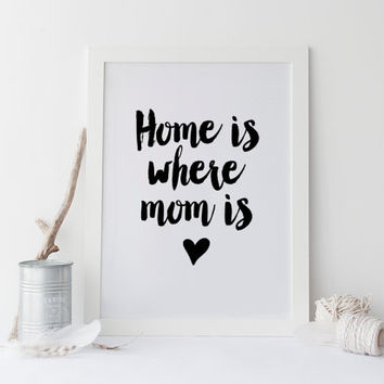PRINTABLE Art,Mother's Day Print,Home Is Where Mom Is,Gift For Mother,Gifts For Mom,Printable Mothers Day,Typography Print,Wall Art,Quotes