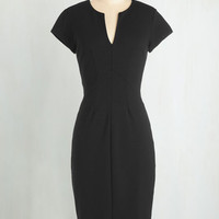 LBD Long Cap Sleeves Bodycon Enterprising Entrepreneur Dress in Black