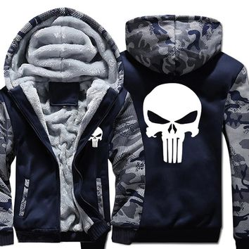 Winter Warm The Punisher Hoodies Casual skull Hooded Coat men cardigan Thick Zipper Jacket Sweatshirt