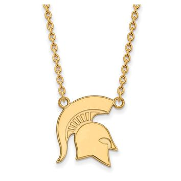 NCAA 10k Yellow Gold Michigan State Large Pendant Necklace