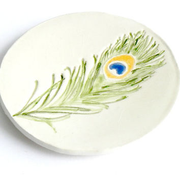 Peacock Feather Jewelry Dish Ceramic Round Ring Holder Green Feather Decorative Pottery Plate Colorful Dish Recycled Box