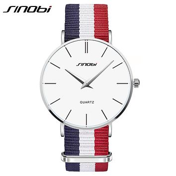 SINOBI Ultra Slim Men's Casual Quartz Watch with Nylon Strap