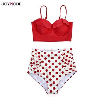 JOYMODE Vintage Two Pieces Women Bikini Set Swimwear Ruffles High Waist Swimsuit Push Up Retro Red Polka Dot Underwire Swimsuit