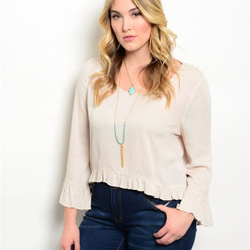 Women Plus Size Fashion Beige Hi Low Peasant Top Blouse Shirt Bell Sleeve Casual
