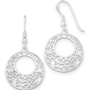 925 Sterling Silver Lace Detailed Open Circlet Dangle Earrings