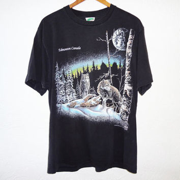 Vintage 1993 Wolf Shirt - Stand Out Gardner 93 - Large - Wildlife Shirt Edmonton Alberta
