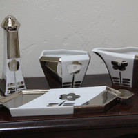 Art Deco Sugar/Creamer Salt & Pepper Set