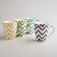 Painterly Chevron Mugs, Set of 4