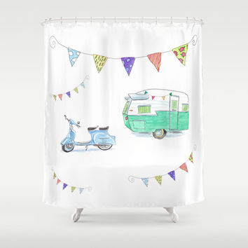 """Cute Camper Shower curtain - """"June Cleaver Goes Camping"""" Watercolor, Vespa, glamping, bunting, colorful, teal, turquoise decor bathroom"""