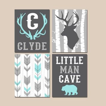 Little Man Cave, WOODLAND NURSERY Wall Art, Baby Boy Deer Art, Arrows Deer Bear, Deer Antlers Birch Tree Canvas or Prints Set of 4 Decor