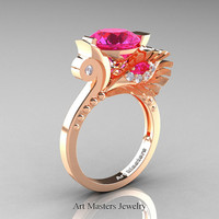 High Fashion Nature Inspired 14K Rose Gold 3.0 Ct Pink Sapphire Diamond Marquise Eye Engagement Ring R359S-14KRGDPS