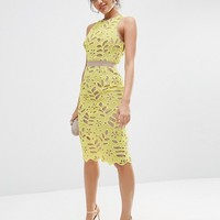 ASOS Premium Lace Midi Pencil Dress With Contrast Seams at asos.com